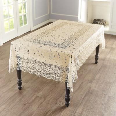 Lakeside Vinyl Lace Tablecloth with Elegant, Vintage Floral Design - Rectangular Ivory