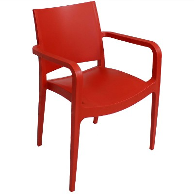 Sunnydaze Plastic All-Weather Commercial-Grade Landon Indoor/Outdoor Patio Dining Arm Chair, Red