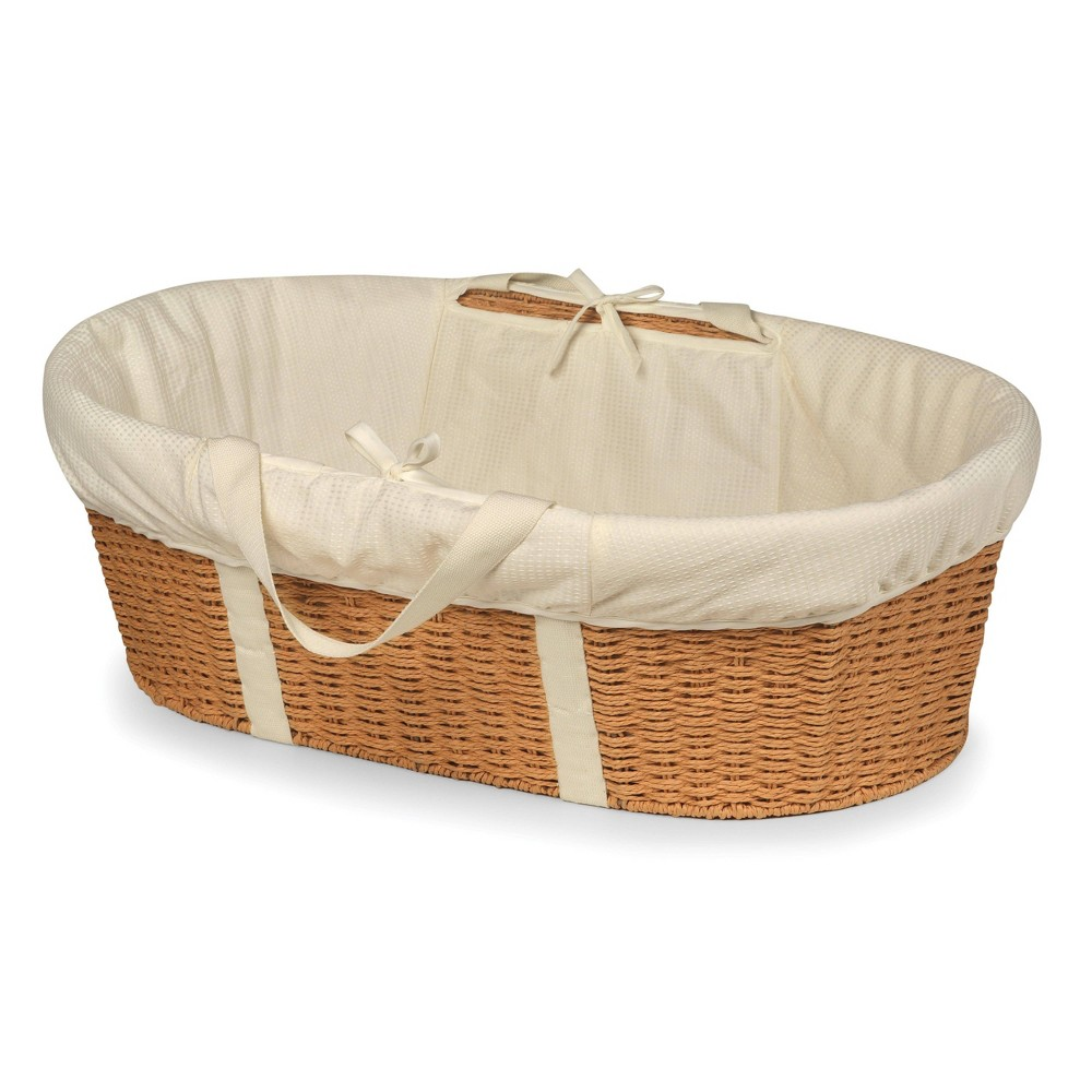 Badger Basket Wicker-Look Woven Baby Moses Basket with Bedding - Natural/Ecru Badger Basket's elegant Wicker-Look Woven Baby Moses Basket allows your newborn to snooze blissfully close to you anywhere day or night. Everything you need is in the box - basket, foam pad, and bedding. No tools needed to assemble. Sturdy construction. Color: Natural. Gender: Unisex.