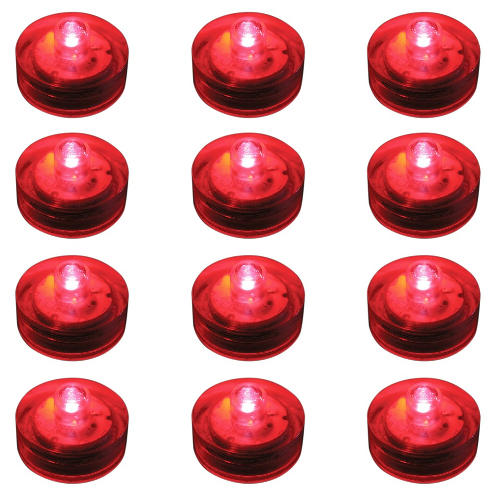 12ct Submersible Battery Operated Led Lights Red