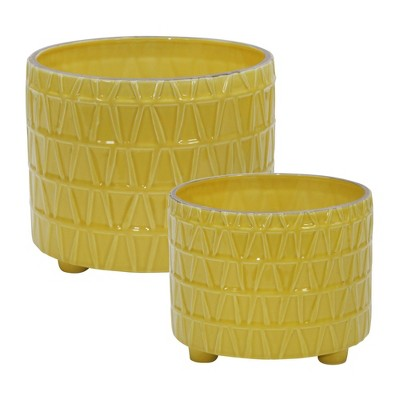 Set of 2 Ceramic Footed Etched Planter Yellow - Sagebrook Home