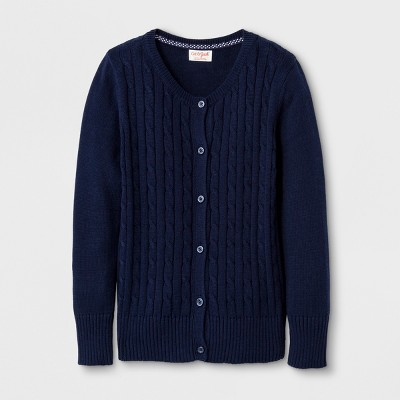 Girls' Crew Neck Cable Knit Uniform Cardigan - Cat & Jack™ Navy