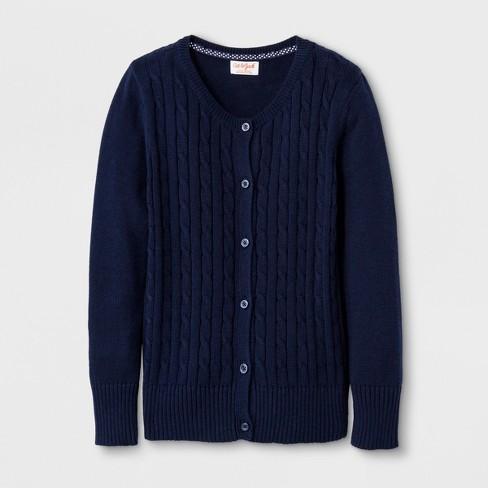 54674bb5880 Girls' Crew Neck Cable Knit Uniform Cardigan - Cat & Jack™