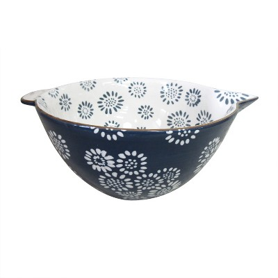 Stoneware Mixing Bowl with Gold Rim Blue - Threshold™