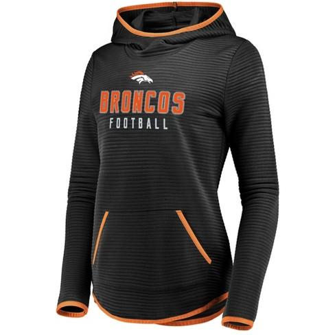 8f5a58f7 NFL Denver Broncos Women's Linear Hood Black Scuba Neck Hoodie