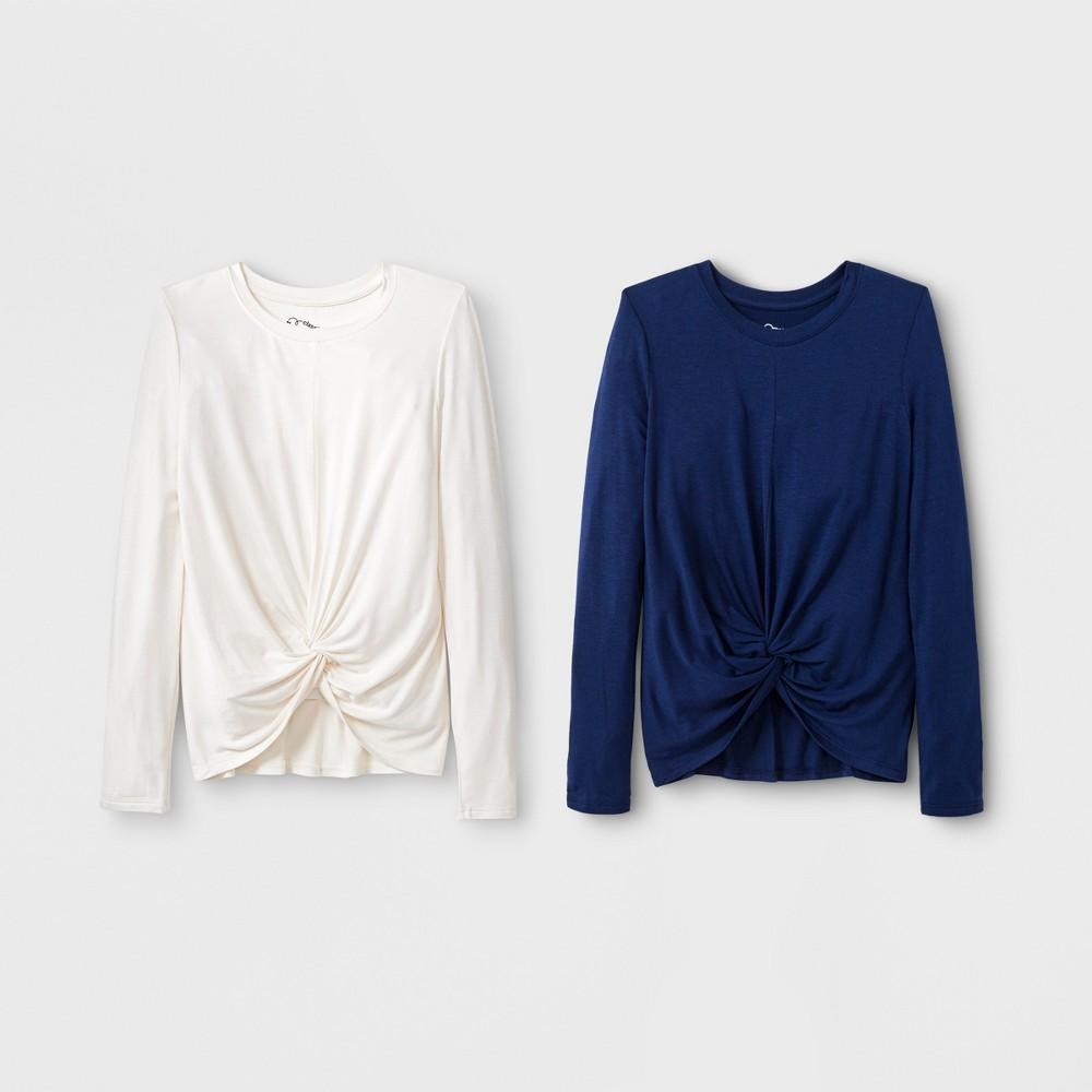 Girls' Long Sleeve Tie Knot Front 2pk T-Shirt - art class Blue/Cream L