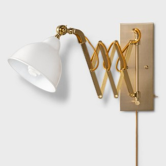 "29"" x 12.7"" Accordion Metal Wall Lamp Gold/White - Threshold™"
