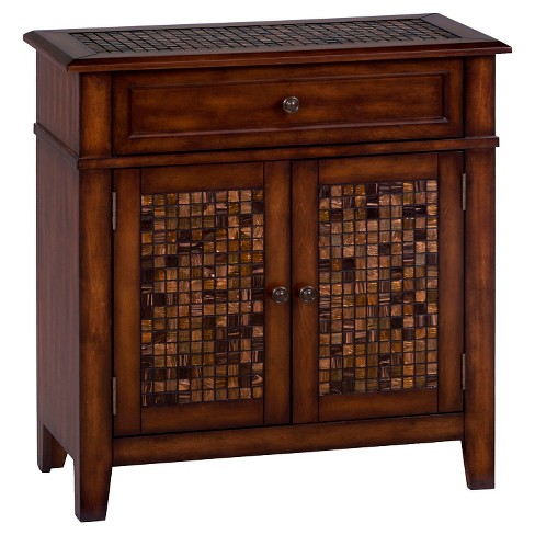 Baroque Mosaic Tile Accent Cabinet Brown - Jofran Inc. - image 1 of 3