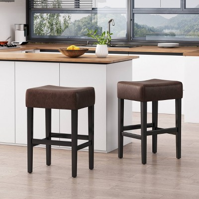 Set of 2 Lopez Backless Leather Counter Height Barstool - Christopher Knight Home