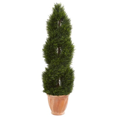4.5ft Double Pond Cypress Topiary Artificial Tree In Terracotta Planter - Nearly Natural
