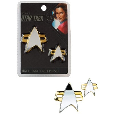 Quantum Mechanix Star Trek Voyager Communicator Badge and Lapel Pin Set