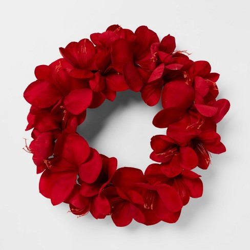 "20"" Amarylis Wreath Red - Threshold™ - image 1 of 3"