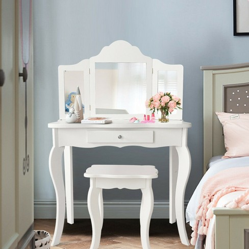 Costway Vanity Table Set Makeup, Vanity Table Set With Lighted Mirror Stool
