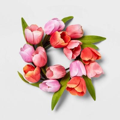 "12"" Artificial Mini Tulip Wreath Pink/Green - Threshold™"