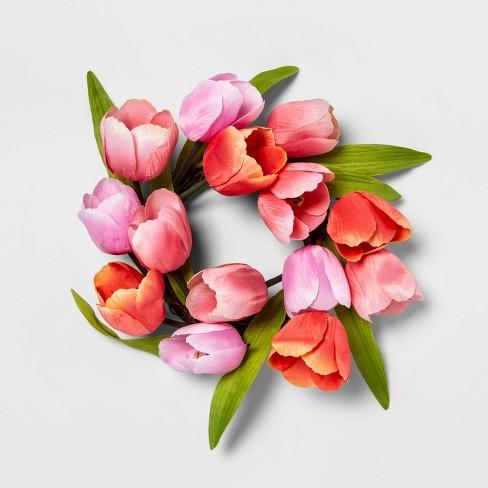 "12"" Artificial Mini Tulip Wreath Pink - Threshold™ - image 1 of 1"