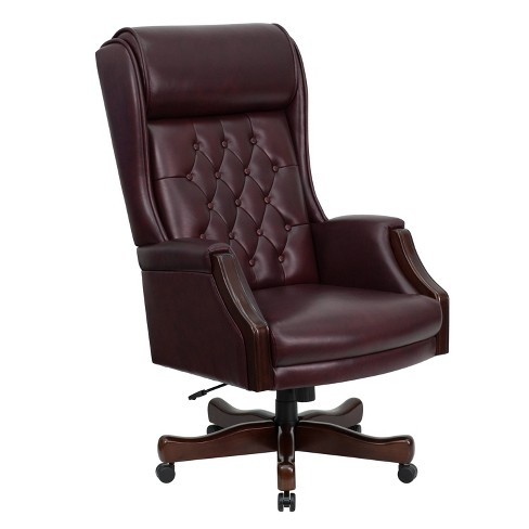 Executive Swivel Office Chair Burgundy Leather - Flash Furniture - image 1 of 4