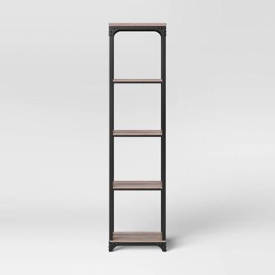 Shop Jackman Industrial Wood Narrow 4 Shelf Bookshelf Brown - Threshold from Target on Openhaus
