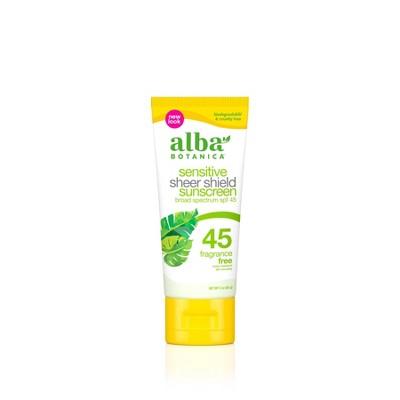 Alba Botanica Sensitive Sheer Sunscreen Shield - SPF 45 - 3oz