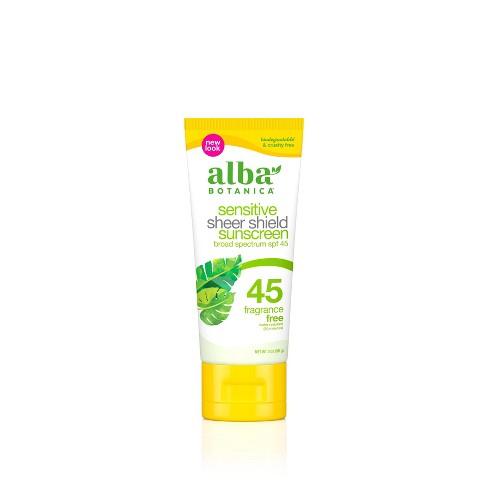 Alba Botanica Sensitive Sheer Sunscreen Shield - SPF 45 - 3oz - image 1 of 3