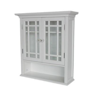 Neal Wall Cabinet 2 Doors & 1 Shelf White - Elegant Home Fashions