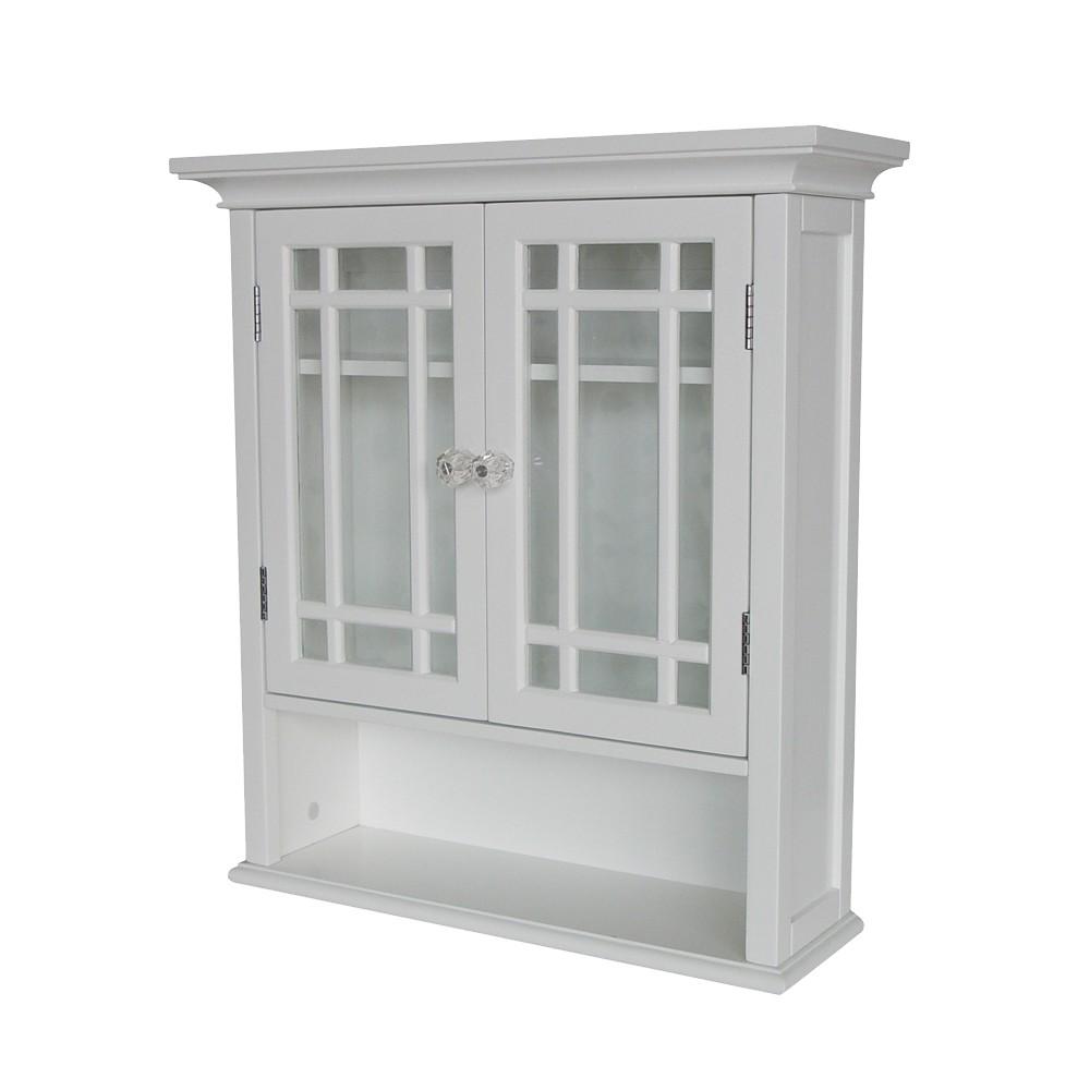 Neal Wall Cabinet 2 Doors & 1 Shelf White - Elegant Home Fashions