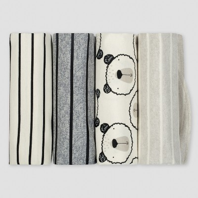 Gerber® Baby Boys' 4pk Flannel Receiving Blanket Bear - Gray/Oatmeal
