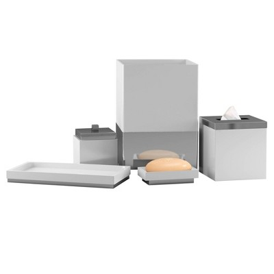 5pc Pure Resin Bath Accessory Set for Vanity Counter Tops White - Nu Steel