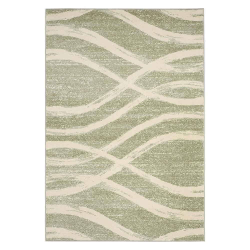 6'X9' Wave Area Rug Sage/Cream - Safavieh, Off-White Brown