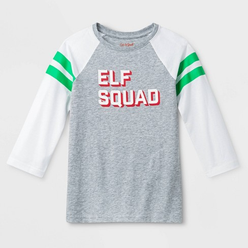 "Kids' ""Elf Squad"" Raglan Sleeve Graphic T-Shirt - Cat & Jack™ Heather Gray - image 1 of 1"