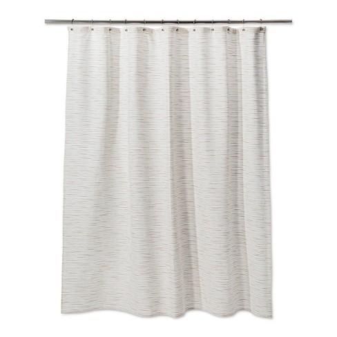 Woven Metallic Slub Shower Curtain Sour Cream