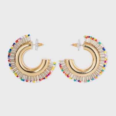 SUGARFIX by BaubleBar Beaded Fringe Huggie Hoop Earrings