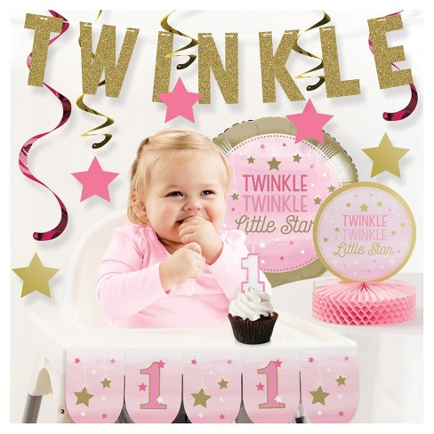 One Little Star Girl 1st Birthday Party Decorations Kit Target