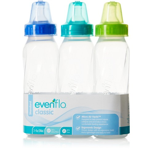 Image result for Evenflo Classic Clear Bpa-Free Plastic Baby Bottle - 8oz 3pk
