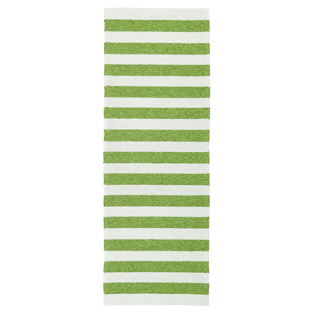 Image of Green Escape Stripes Indoor/Outdoor Area Rug (2'x6') - Kaleen Rugs, Size: 2'x6'