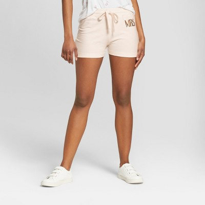 Women's Mrs. Gold Foil French Terry Graphic Lounge Shorts - Modern Lux Pink M