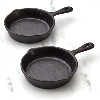 Lakeside Mini Cast Iron Skillets for Single Dishes and Desserts - Set of 2