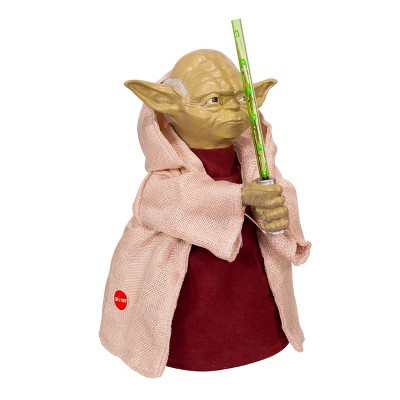 Kurt Adler 12-Inch Battery-Operated Star Wars Yoda with LED Light Saber Treetop