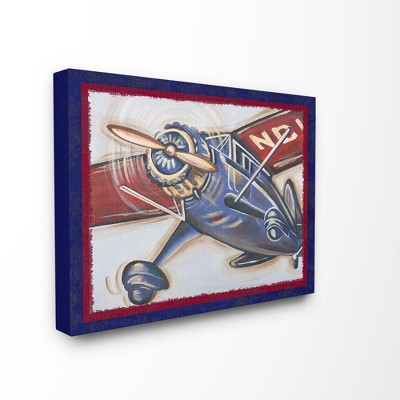 """Blue And Red Vintage Plane Oversized Stretched Canvas Wall Art (24""""x30""""x1.5"""") - Stupell Industries"""