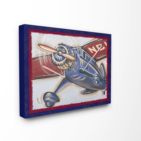 """Blue And Red Vintage Plane Oversized Stretched Canvas Wall Art (24""""x30""""x1.5"""") - Stupell Industries - image 1 of 2"""