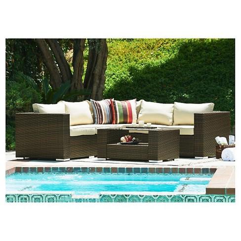 The Hom Kessler 4pc Wicker Sectional Patio Sofa Set