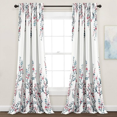 Set of 2 Mirabelle Watercolor Floral Room Darkening Window Curtain Panels Blue/Coral - Lush Décor