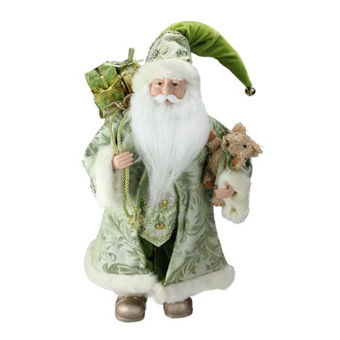 """Northlight 16"""" Irish Santa Claus with Teddy Bear and Gift Bag St. Patrick's Day Figure - Green/White - image 1 of 3"""