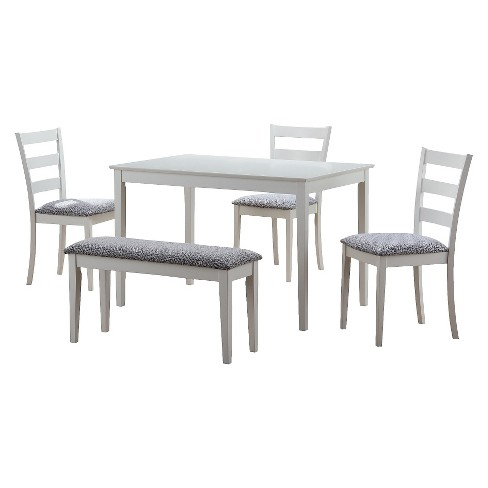 Dining Table Set 5 Piece White Everyroom