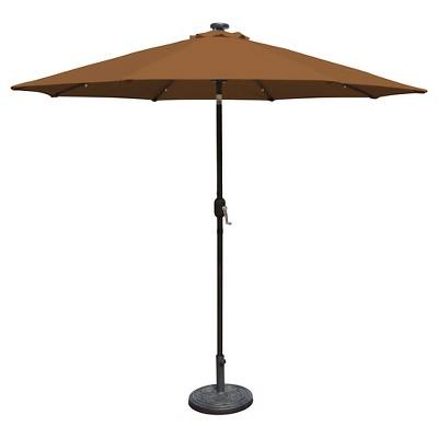 Island Umbrella Mirage Fiesta 9' Market Umbrella in Stone Olefin