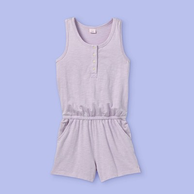 Girls' Button-Front Knit Romper - More Than Magic™ Light Purple