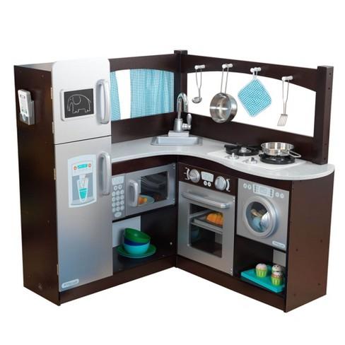 KidKraft Grand Gourmet Uptown Espresso Corner Wood Play Kitchen & Metal  Cookware