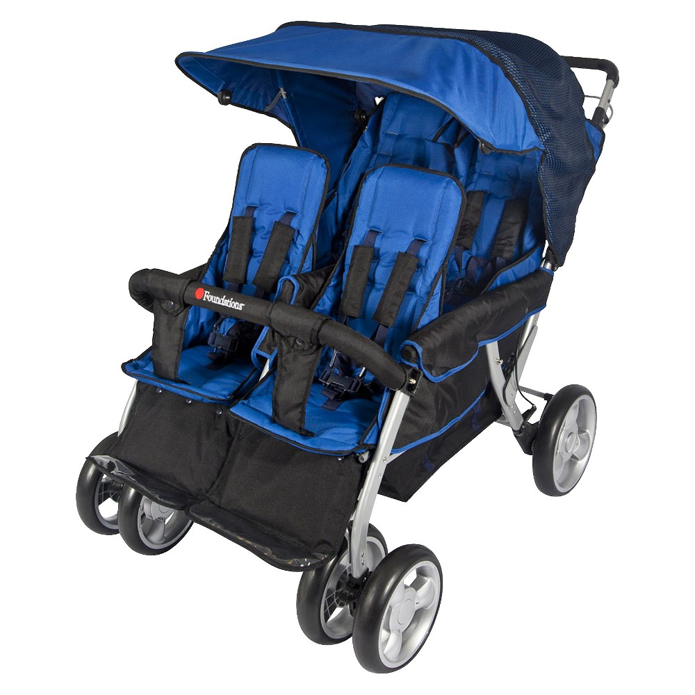 Image of Foundations Quad LX4 Commercial 4 Passenger Stroller - Blue