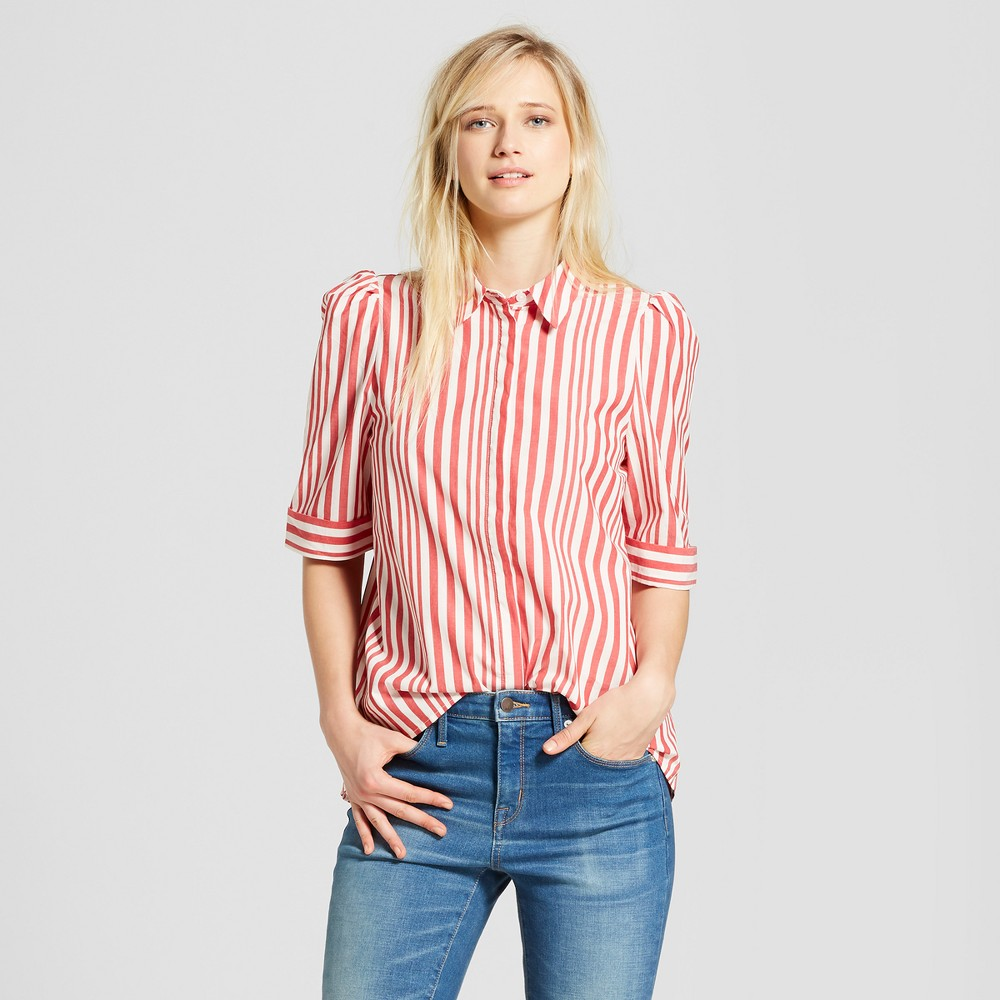 Women's 3/4 Sleeve Button-Up Tunic - Who What Wear Red Stripe XL