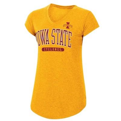 NCAA Iowa State Cyclones Women's Yellow Short Sleeve V-Neck T-Shirt