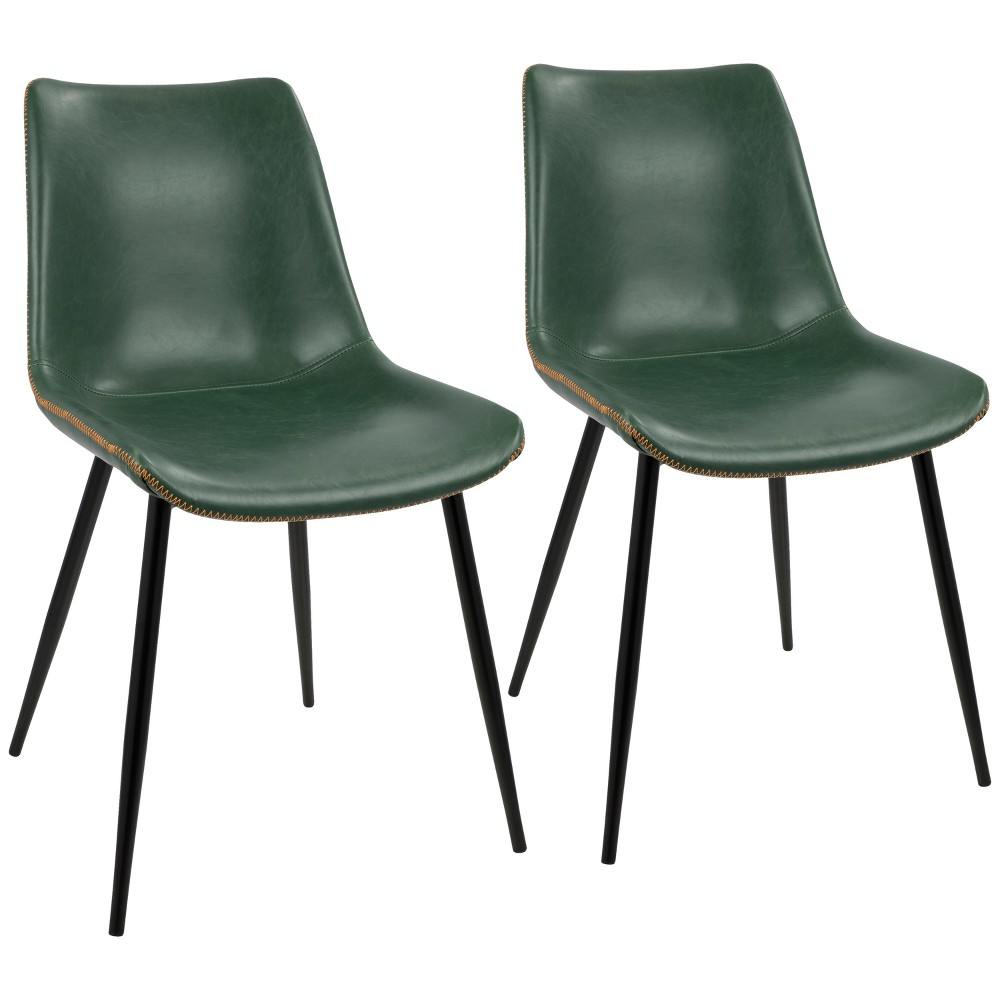 Set of 2 Durango Contemporary Dining Chair Black/Green - LumiSource